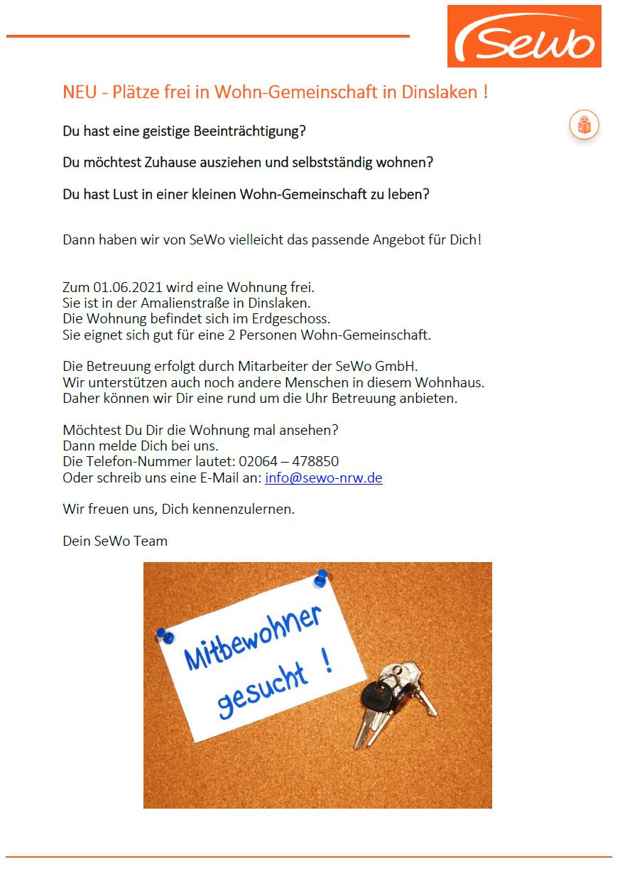 Plätze frei in Wohngemeinschaft in Dinslaken !